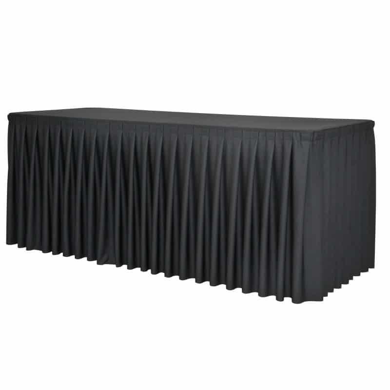 funda plisada negra para mesa 240x76cm