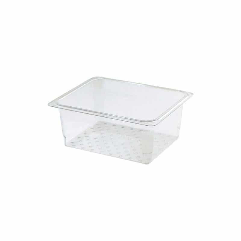 recipiente colador gn 1/6 de policarbonato transparente 7.6cm. prof.