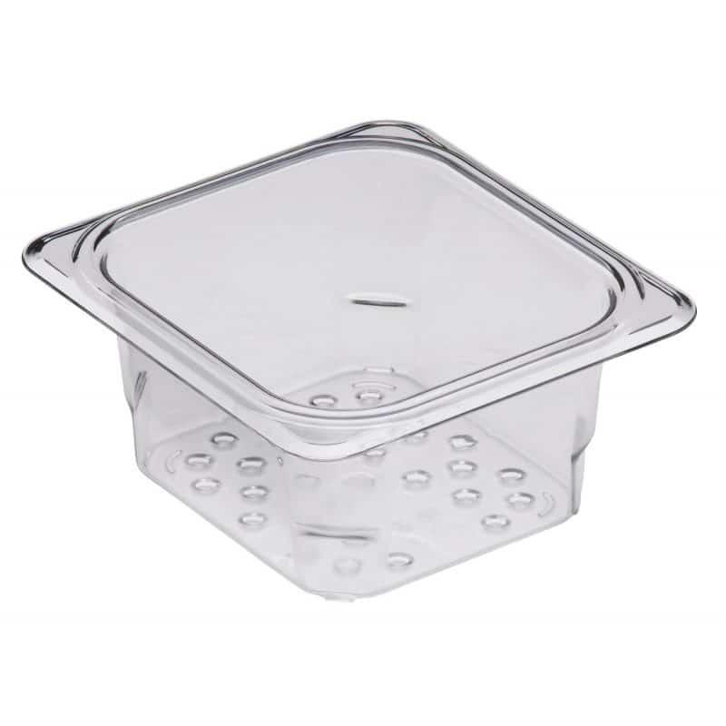 recipiente colador perforado de policarbonato para uso alimentario