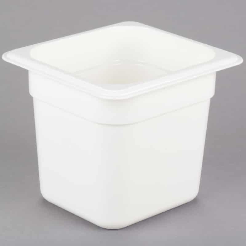Recipiente GN 1/4 de policarbonato blanco 10cm. Prof. de 1,5L