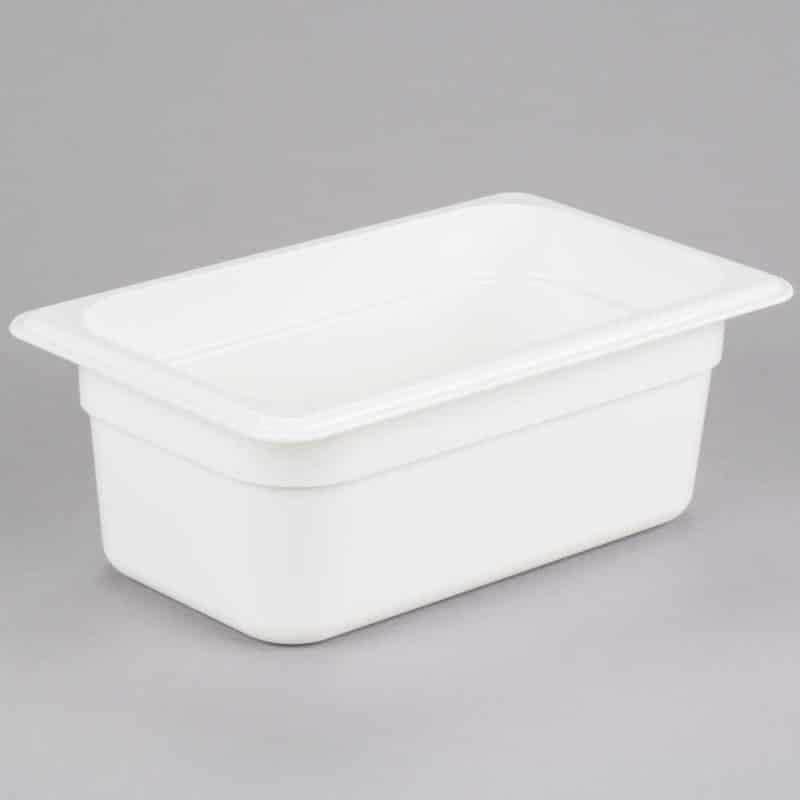 recipiente gn 1/4 de policarbonato blanco 10cm prof de 2.5l