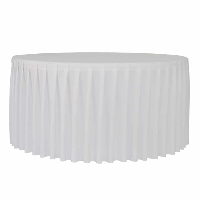 funda plisada para mesa redonda Planet 150 blanca