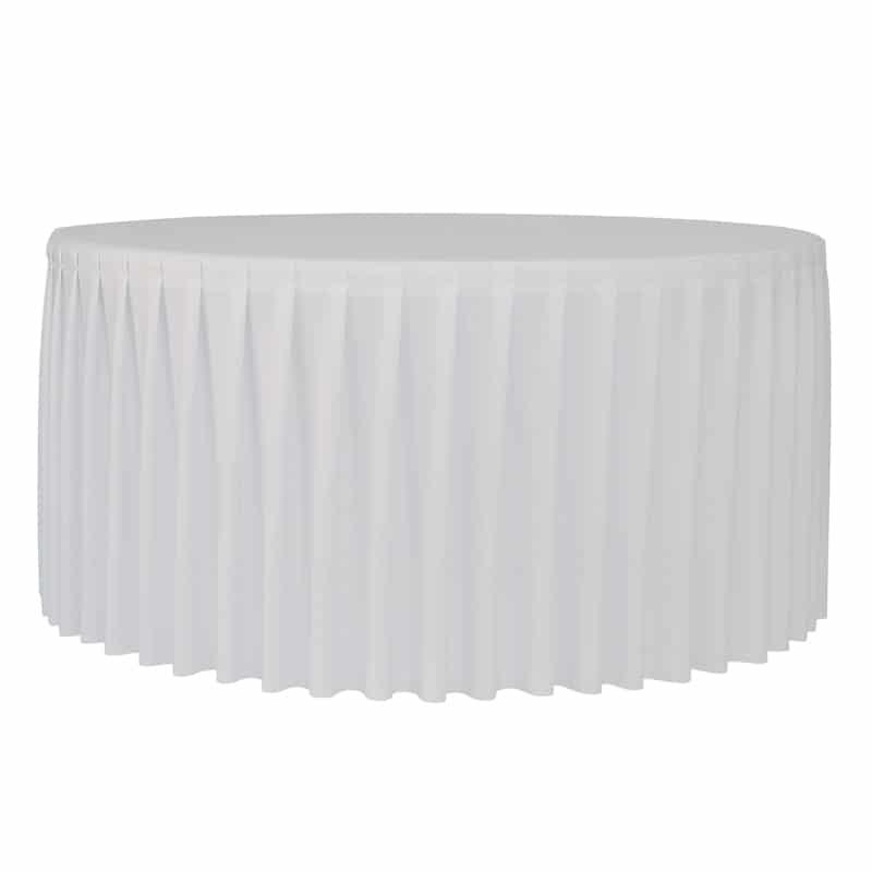 Funda plisada blanca para mesa redonda 180cm